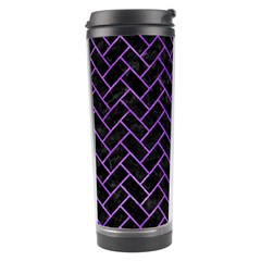 Brick2 Black Marble & Purple Watercolor (r) Travel Tumbler by trendistuff