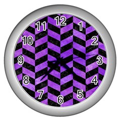 Chevron1 Black Marble & Purple Watercolor Wall Clocks (silver)  by trendistuff