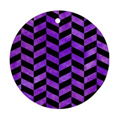 Chevron1 Black Marble & Purple Watercolor Round Ornament (two Sides) by trendistuff