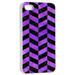Chevron1 Black Marble & Purple Watercolor Apple Iphone 4/4s Seamless Case (white) by trendistuff