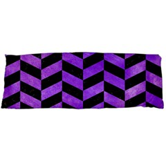 Chevron1 Black Marble & Purple Watercolor Body Pillow Case Dakimakura (two Sides) by trendistuff