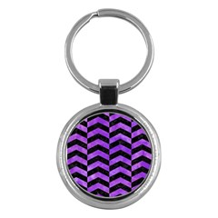 Chevron2 Black Marble & Purple Watercolor Key Chains (round)  by trendistuff