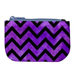 Chevron9 Black Marble & Purple Watercolor Large Coin Purse by trendistuff