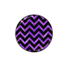 Chevron9 Black Marble & Purple Watercolor (r) Hat Clip Ball Marker (10 Pack) by trendistuff