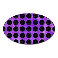 Circles1 Black Marble & Purple Watercolor Oval Magnet by trendistuff