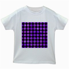 Circles1 Black Marble & Purple Watercolor (r) Kids White T Shirts