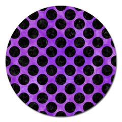 Circles2 Black Marble & Purple Watercolor Magnet 5  (round) by trendistuff