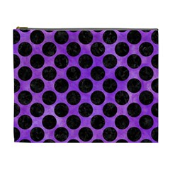 Circles2 Black Marble & Purple Watercolor Cosmetic Bag (xl) by trendistuff