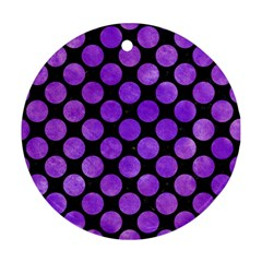 Circles2 Black Marble & Purple Watercolor (r) Round Ornament (two Sides) by trendistuff