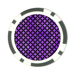 Circles3 Black Marble & Purple Watercolor Poker Chip Card Guard by trendistuff