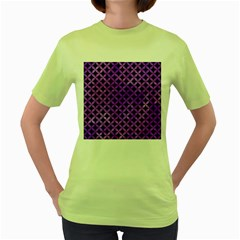 Circles3 Black Marble & Purple Watercolor (r) Women s Green T Shirt