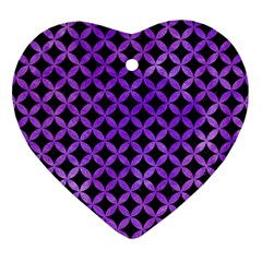 Circles3 Black Marble & Purple Watercolor (r) Heart Ornament (two Sides) by trendistuff