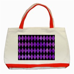 Diamond1 Black Marble & Purple Watercolor Classic Tote Bag (red) by trendistuff