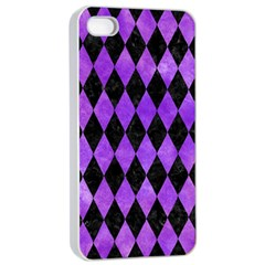 Diamond1 Black Marble & Purple Watercolor Apple Iphone 4/4s Seamless Case (white) by trendistuff