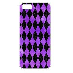 Diamond1 Black Marble & Purple Watercolor Apple Iphone 5 Seamless Case (white) by trendistuff