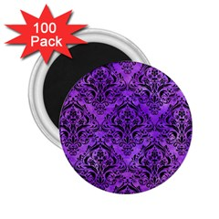 Damask1 Black Marble & Purple Watercolor 2 25  Magnets (100 Pack)  by trendistuff