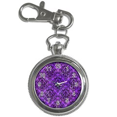 Damask1 Black Marble & Purple Watercolor Key Chain Watches by trendistuff