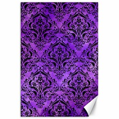 Damask1 Black Marble & Purple Watercolor Canvas 20  X 30   by trendistuff