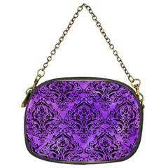 Damask1 Black Marble & Purple Watercolor Chain Purses (one Side)  by trendistuff