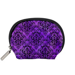 Damask1 Black Marble & Purple Watercolor Accessory Pouches (small)  by trendistuff