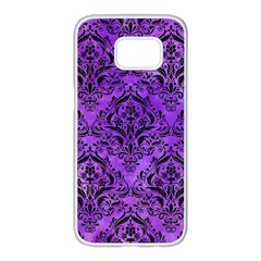 Damask1 Black Marble & Purple Watercolor Samsung Galaxy S7 Edge White Seamless Case by trendistuff
