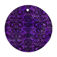 Damask2 Black Marble & Purple Watercolor Round Ornament (two Sides) by trendistuff