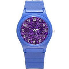 Damask2 Black Marble & Purple Watercolor Round Plastic Sport Watch (s) by trendistuff