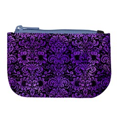 Damask2 Black Marble & Purple Watercolor (r) Large Coin Purse by trendistuff