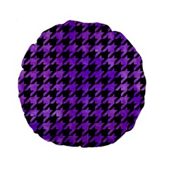 Houndstooth1 Black Marble & Purple Watercolor Standard 15  Premium Flano Round Cushions by trendistuff