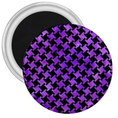Houndstooth2 Black Marble & Purple Watercolor 3  Magnets by trendistuff