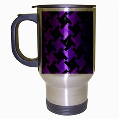 Houndstooth2 Black Marble & Purple Watercolor Travel Mug (silver Gray) by trendistuff