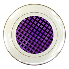 Houndstooth2 Black Marble & Purple Watercolor Porcelain Plates by trendistuff