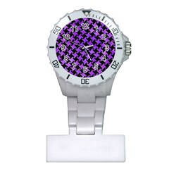 Houndstooth2 Black Marble & Purple Watercolor Plastic Nurses Watch by trendistuff