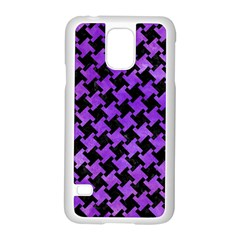 Houndstooth2 Black Marble & Purple Watercolor Samsung Galaxy S5 Case (white) by trendistuff