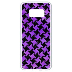 Houndstooth2 Black Marble & Purple Watercolor Samsung Galaxy S8 White Seamless Case by trendistuff