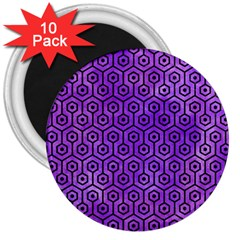 Hexagon1 Black Marble & Purple Watercolor 3  Magnets (10 Pack)  by trendistuff