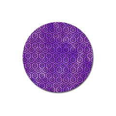 Hexagon1 Black Marble & Purple Watercolor Magnet 3  (round) by trendistuff