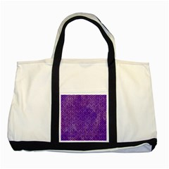 Hexagon1 Black Marble & Purple Watercolor Two Tone Tote Bag