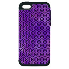 Hexagon1 Black Marble & Purple Watercolor Apple Iphone 5 Hardshell Case (pc+silicone) by trendistuff
