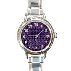 Hexagon1 Black Marble & Purple Watercolor (r) Round Italian Charm Watch by trendistuff