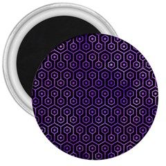 Hexagon1 Black Marble & Purple Watercolor (r) 3  Magnets by trendistuff
