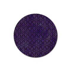 Hexagon1 Black Marble & Purple Watercolor (r) Rubber Round Coaster (4 Pack)  by trendistuff