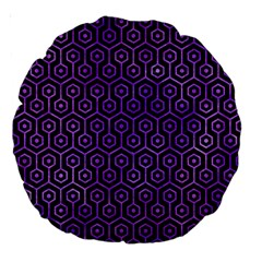 Hexagon1 Black Marble & Purple Watercolor (r) Large 18  Premium Round Cushions by trendistuff