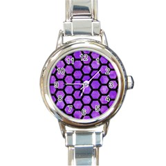 Hexagon2 Black Marble & Purple Watercolor Round Italian Charm Watch by trendistuff