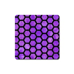 Hexagon2 Black Marble & Purple Watercolor Square Magnet by trendistuff