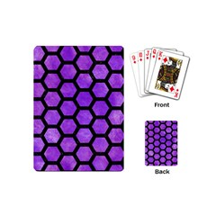 Hexagon2 Black Marble & Purple Watercolor Playing Cards (mini)  by trendistuff