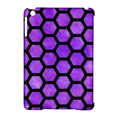 Hexagon2 Black Marble & Purple Watercolor Apple Ipad Mini Hardshell Case (compatible With Smart Cover)
