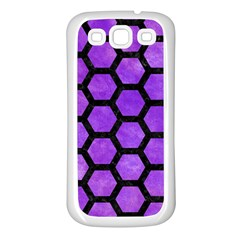 Hexagon2 Black Marble & Purple Watercolor Samsung Galaxy S3 Back Case (white) by trendistuff