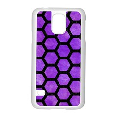Hexagon2 Black Marble & Purple Watercolor Samsung Galaxy S5 Case (white) by trendistuff