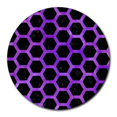 Hexagon2 Black Marble & Purple Watercolor (r) Round Mousepads by trendistuff